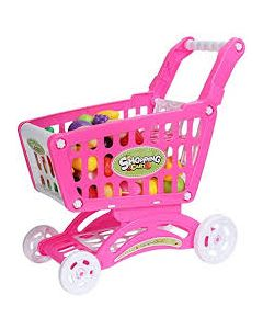 Mostbest Kids Toy Supermarket Shopping Grocery Cart with Fruit Vegetable, Trolley Accessories Realistic Pretend Play